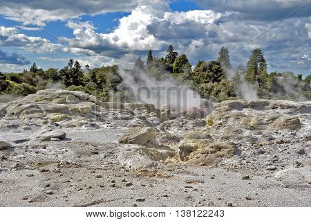 Sulfur From Whakarewarewa Geyser At Te Puia Thermal Park In Geothermal Valley Of Rotorua, New Zealan