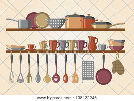 Retro kitchen shelves and cooking utensils - vector illustration