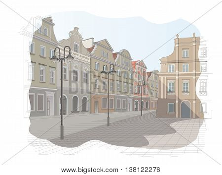 Old town square in Poland - vector illustration