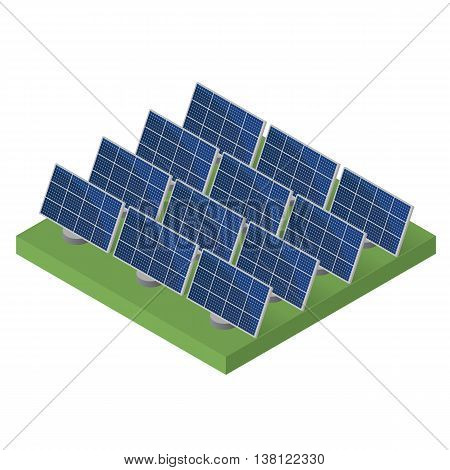 Blue Solar panels. Flat isometric. Modern alternative energy. The production of energy from the sun. Ecological energy. Vector illustration.