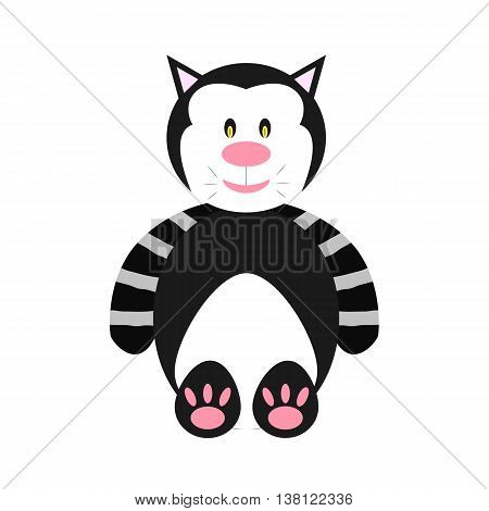 Toy plush cat. Black and white cat. Cutie pet. Animal says