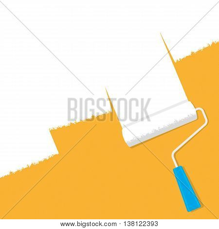 A paint roller with white paint on an orange background