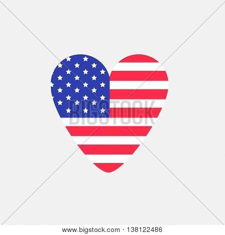 Big heart shape american flag Star and strip icon. Sign symbol. Flat design Vector illustration