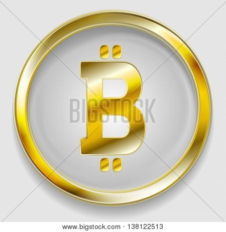 Crypto currency, golden icon bitcoin design. Internet virtual money bitcoin symbol