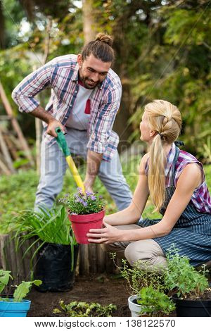 Happy male and female gardeners planting potted plants at botanical garden