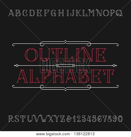Line vintage alphabet vector font. Ornate letters in outline style for labels, headlines, posters etc.