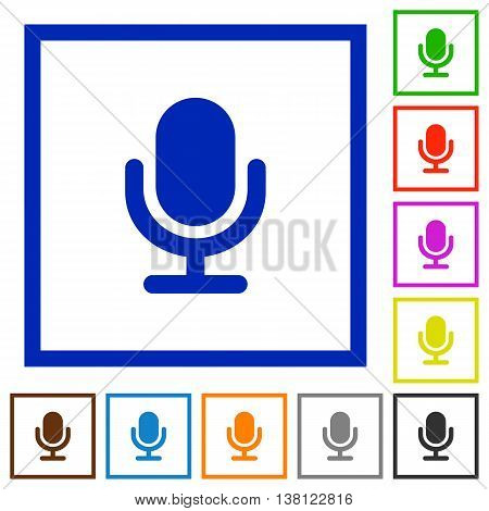 Set of color square framed Microphone flat icons