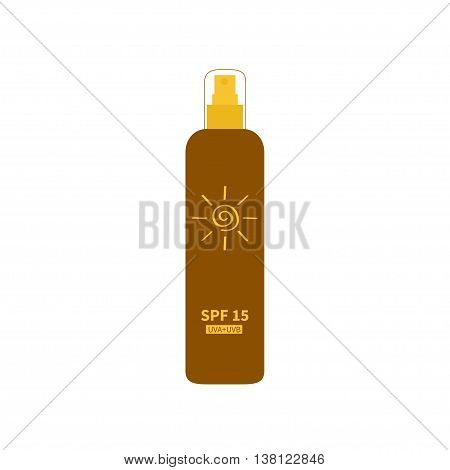Tube of sunscreen suntan oil cream. After sun lotion. Bottle spray. Solar defence. Spiral sun sign symbol icon. SPF 15 sun protection factor. UVA UVB sunscreen. Isolated. White background. Flat Vector