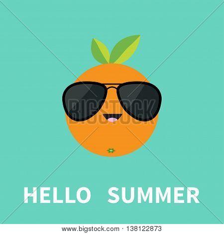 Big orange citrus fruit with leaf wearing sunglasses. Cute cartoon smiling character. Hello summer Greeting Card. Flat design. Blue background. Vector illustration