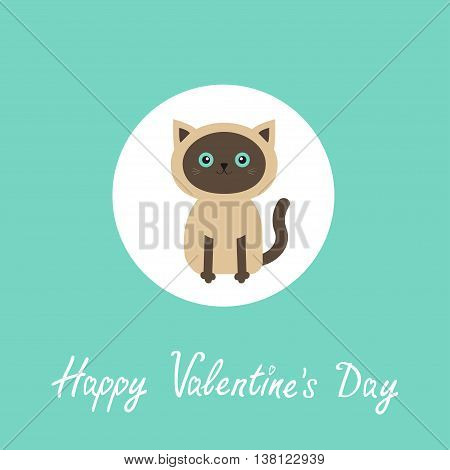 Happy Valentines day. Siamese cat round circle icon in flat design style. Cute cartoon character. Happy sitting kitten with blue eyes. Blue background. Greeting card. Vector illustration
