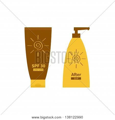 Tube of sunscreen suntan cream. After sun lotion. Plastic bottle set. Solar defence. Spiral sun sign symbol icon. SPF 30 sun protection factor. UVA UVB sunscreen. Isolated White background Flat Vector