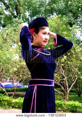 LANG SON, Vietnam, June 28, 2016 young women, ethnic Tay, Lang Son Province, Vietnam, traditional costume beauty