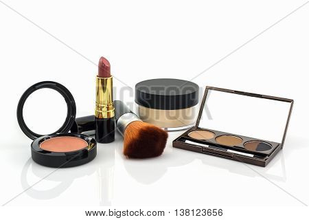 Decorative Cosmetic set on the white background.