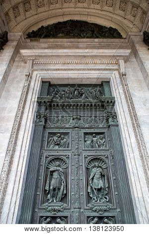 Saint Petersburg, Russia - 10 July : ancient decorated door St. Isaac Cathedral Built in 1818-1858 years by architect Auguste Montferrand , the days of military glory of Russia on 10 July, 2016.