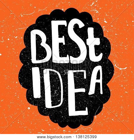 Human brain with text - Best Idea. Conceptual vector illustration for creative brainstorm metaphor.