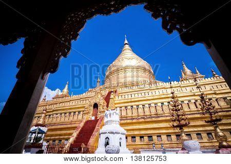 Shwezigon Pagoda in Myanmar in a daylight