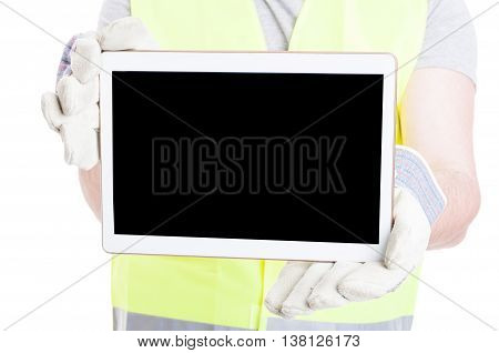 Male Constructor Holding Tablet With Empty Screen