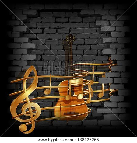 Vector illustration of gold musical notes volume and treble clef on the staff with an acoustic guitar in the rupture of the old brick wall. You can use any text and image on a black background.