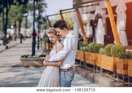 gorgeous wedding couple walking into their wedding day in Budapest