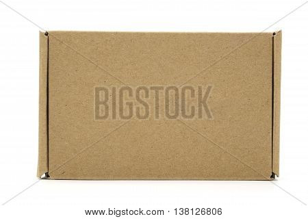 A Front Of Brown Box, Being Closed, Isolated On White