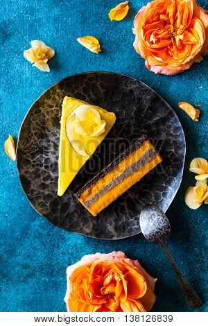 Raw vegan sweet cakes with mango,pineapple, buckthorn and nuts
