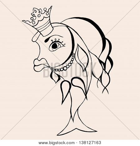Goldfish fairy with crown. Vector illustration. Hand drawn artwork. Black and beige