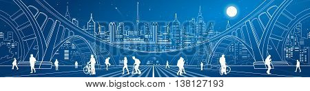Big bridge, amazing panorama of neon town, a lot of people walking on the street. City life. Architecture and infrastructure illustration. White lines urban landscape, vector design art
