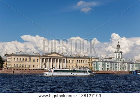Saint Petersburg, Russia - 10 July : Cabinet of curiosities with Cumulus clouds and boat , the days of military glory of Russia on 10 July, 2016.