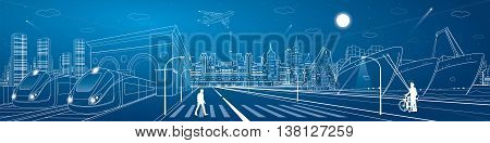 Mega infrastructure city panorama, train railway station, urban scene, industrial and transportation illustration, night town, airplane flying, cargo port, ships on the water, vector design art