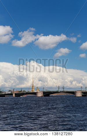 Saint Petersburg, Russia - 10 July : Palace bridge in St. Petersburg, on a background of Cumulus clouds the days of military glory of Russia on 10 July, 2016.