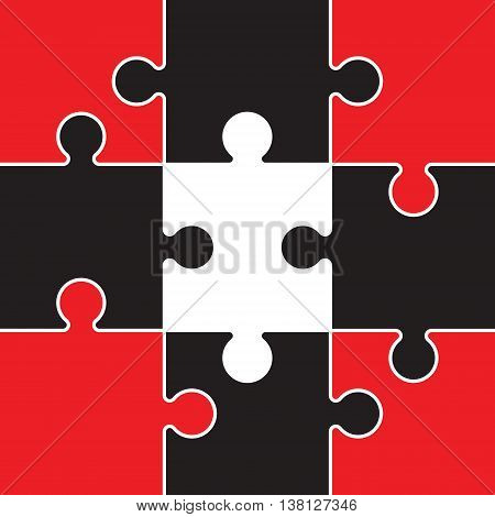 a red and black jigsaw with nine pieces