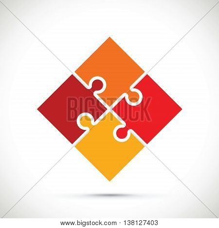 a red and orange square jigsaw image