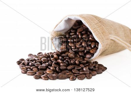 Coffee beans in a sack on a white background.
