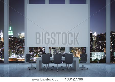 Conference room interior with blank white billboard on panoramic window with illuminated night city view. Mock up 3D Rendering