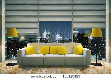 Bright Living Room At Night