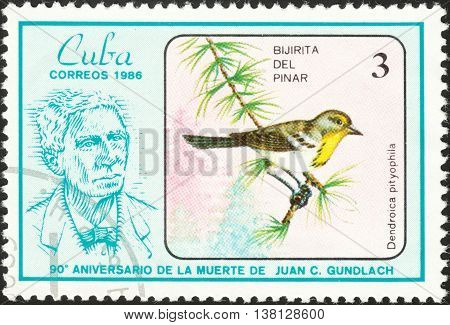 MOSCOW RUSSIA - DECEMBER 2015: a stamp printed in CUBA shows a bird