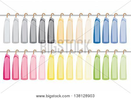 Assorted suit hanging on a clothes rack isolated on white background vector illustration.
