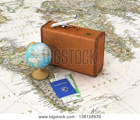 Travel concept. Suitcase for travel. Globe passport with tickets lying on the map near the suitcase placed on the world map. 3d illustration