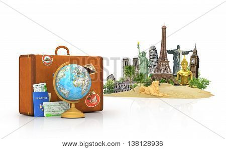 Travel concept. Attractions of the world. Suitcase for travel. Globe passport with tickets lying near to the suitcase. 3d illustration