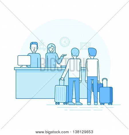 Vector Illustration In Trendy Flat Linear Style - Hotel Reception