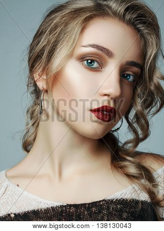A Large Portrait Of A Very Beautiful Girl. Girl With A Professional Make-up And A Professional Hair
