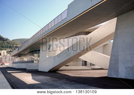 SALERNO, Italy June 2016 - The West side of the new maritime station of Salerno designed from the architect Zaha Hadid