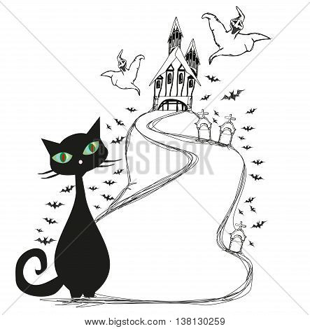Halloween frame with Scary Castle , doodle illustration