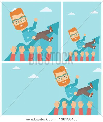 Young hipster businessman with the beard get thrown into the air by coworkers during celebration. Successful business concept. Vector flat design illustration. Square, horizontal, vertical layouts.