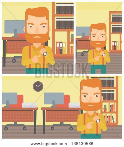 An angry hipster businessman with the beard standing in the office and pointing at his wrist watch. Concept of late to work. Vector flat design illustration. Square, horizontal, vertical layouts.