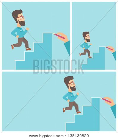 A hipster businessman with the beard running up the stairs drawn by hand with pencile. Concept of business career. Vector flat design illustration. Square, horizontal, vertical layouts.
