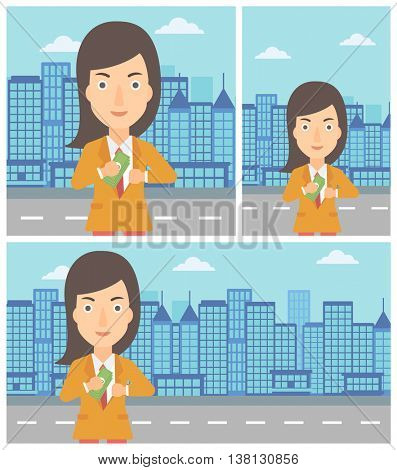 Young business woman putting money in her pocket on a city background. Vector flat design illustration. Square, horizontal, vertical layouts.