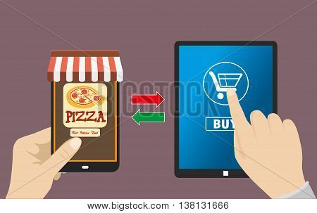 One hand holds a smartphone shop the other hand holding a tabet pc with icon shopping e-commerce on the phone and tablet flat design