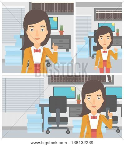 Young business woman standing in the office and pointing up with her forefinger. Business idea concept. Vector flat design illustration. Square, horizontal, vertical layouts.
