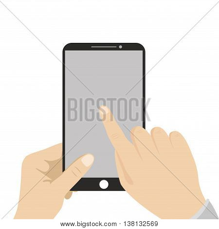Hand holding black smartphone touching blank screen. Using mobile smart phone flat design concept vector